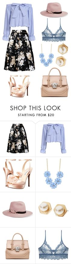 """""""Untitled #4"""" by lovely26-1 ❤ liked on Polyvore featuring Nina, J.Crew, Eugenia Kim, L. Erickson, Versace and Only Hearts"""