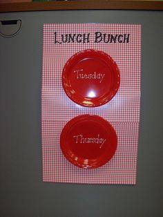 Good reminder of which students are eating lunch with me that week (Lunch Bunch). Could write student names on the plates with dry erase markers.