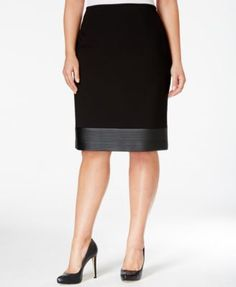 10575d903f2c7 Calvin Klein Plus Size Faux-Leather Hem Pencil Skirt Plus Size Skirts