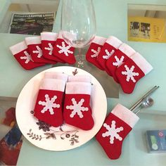 10pcs Christmas Stockings Mini Cute Tableware Stocking Holder Christmas Decorations For Home Tree Ornament