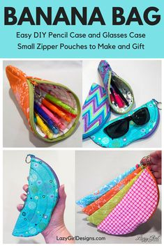 Use these banana-shaped small zipper pouches for glasses case, pencil case, or gadgets! Banana Bag™️ zipper pouches PDF sewing pattern item are adorable, functional zip pouches. Use one half of the zipper and swap the zipper pull color. Small Zipper Pouch, Zipper Bags, Lazy Girl Designs, Diy Pencil Case, Pencil Bags, Simple Bags, Purse Organization, Glasses Case, Bag Making