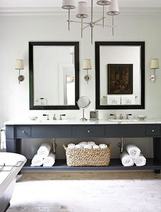 Modern Bath featuring the Bryant Sconce and Bryant Chandelier by Thomas O'Brien for Visual Comfort & Co.