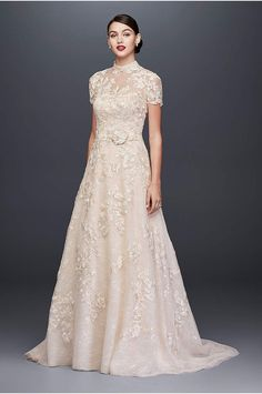 b235cd6f8966f This embellished strapless A-line wedding gown from Oleg Cassini features a  removable high-neck lace topper that offers coverage and versatility for  the ...