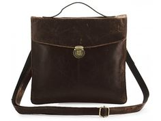 Vintage Style Dark Coffee Convertible iPad Leather Bag with Refined Metal Buckle