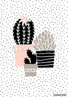 Hand drawn cactus plants in black, white, taupe and pastel pink. Scandinavian style illustration, modern and elegant home decor. Cute Wallpapers, Wallpaper Backgrounds, Iphone Wallpaper, Screen Wallpaper, Wallpaper Quotes, Elegant Home Decor, Stylish Home Decor, Kaktus Illustration, Cactus Plants