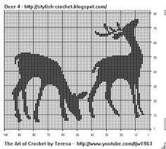 Free Filet Crochet Charts and Patterns: Filet Crochet Deer - Chart 4