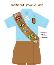 Where to Place Insignia on a Uniform Girl Scout Brownies (Grades 2-3)