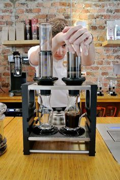 One cup of coffee from an AeroPress not going to cut it? There's a stand for that!