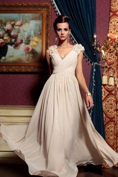 2013 Prom Dresses A Line V Neck Chiffon Floor Length 30781# USD 169.99 EPPQ5862D8 - ElleProm.com