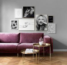 Fabolous Velvet Sofa Design Ideas for Living Rooms Pink Velvet Sofa, Purple Sofa, Velvet Lounge, Gallery Wall Frames, Frames On Wall, Gallery Walls, Framed Wall, Sofa Design, Wall Design