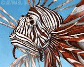 Lion Fish Art 4x6 Print - http://www.etsy.com/treasury/OTQ0Nzc5NHwyNzI0MDA2ODgw/teal-and-orange-who-could-resist