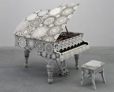 Are you ready...a yarn bombed piano..actually crochet covered.