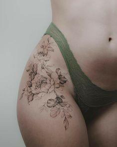 Art tattoos, cute tattoos on thigh, rose tattoo thigh, tattoo on hip, Flower Hip Tattoos, Rose Tattoo Thigh, Flower Tattoo Drawings, Beautiful Flower Tattoos, Tattoo Hip, Back Of Thigh Tattoo, Art Drawings, Beautiful Women With Tattoos, Tattoo Ideas Flower