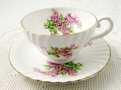 Vintage Tea Cup and Saucer by Stanley, with Pink Flowers, English Bone China