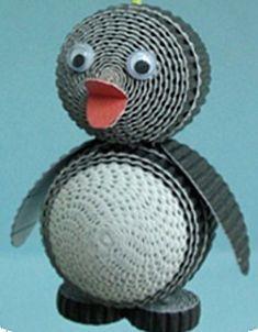 Mini pinguïn is een knutselwerkje met golfkarton categorie Knippen en plakken