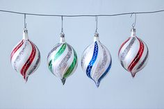 Set of 4 Swirl Teardrop Christmas Glass Ornaments by Pigeonatelier, $15.00