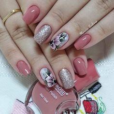 Polygel Nails, Cute Nails, Pretty Nails, Brown Hair Balayage, Pink Nail Art, Nail Ring, Heart Nails, Flower Nails, Manicure And Pedicure