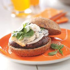 "Portobello Burgers with Pear-Walnut Mayonnaise Recipe -A big, juicy grilled mushroom with a nutty pear mayonnaise and creamy blue cheese makes for an outstanding veggie burger. ""Absolutely delicious!"" said the judges, awarding Lindsay's recipe Grand Prize in the Mushroom Council's Mushrooms Every Day, Every Way contest.—Lindsay Sprunk, Brentwood, Tennessee"