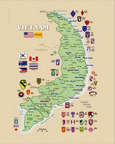 Vietnam Map with Army Units Vietnam Map, Saigon Vietnam, Vietnam History, Vietnam War Photos, South Vietnam, Vietnam Veterans, Us Army Rangers, Army Ranks, Military Insignia