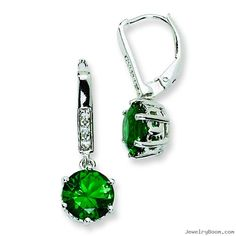 emerald jewelry | ... Silver Simulated Emerald & CZ Leverback Earrings in Cubic Zirconia