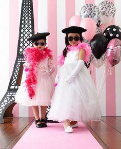 Französische Damen-kostüm Kinder-Mädchen pink-Kleid Eifelturm-Wandtatoo