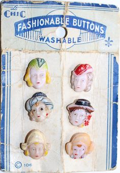 6 Realistic Glass Buttons on Original Card  Smalls by KPHoppe