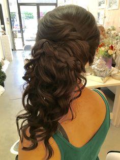 Wedding, long side updo, cascading -www.kellyscripps.com