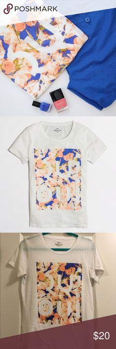 Factory Oui Collector Tee Who doesn't love a cute French graphic tee? This one provides a pop of color with a cute floral design. Great condition. 60% cotton, 40% polyester. J. Crew Tops Tees - Short Sleeve