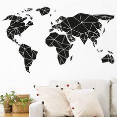 sticker mural mappemonde décoration géométrique