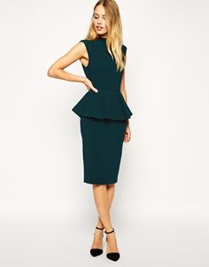 Enlarge ASOS Pencil Dress with Peplum and High Neck