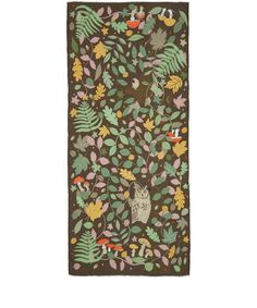 Karen Mabon Brown Magic Forest Modal-Blend Scarf | Scarves | Liberty.co.ukFEATURES Magic forest print Gently frayed ends Made in Italy COMPOSITION 93% Modal, 7% Cashmere  DIMENSIONS 100cm x 200cm