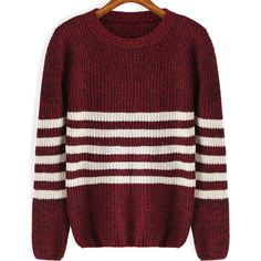 Round Neck Striped Knit Red Sweater ($11) ❤ liked on Polyvore featuring tops, sweaters, red, romwe, knit pullover, knit sweater, red stripe sweater, long sleeve pullover and striped pullover sweater