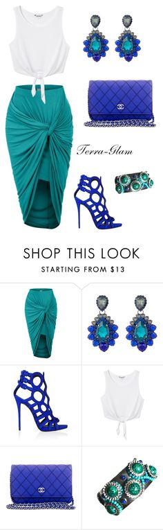 """""""Twisted"""" by terra-glam ❤ liked on Polyvore featuring VICKISARGE, Giuseppe Zanotti, Monki and Chanel"""