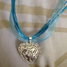 Silver hollow Heart necklace Sterling silver 925 hollow heart pendent with blue ribbon necklace Jewelry Necklaces