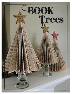 Christmas trees made from book pages