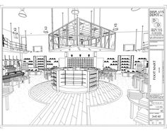 Space drawing ,,,photo in 2019 store design, shop front desi Retail Interior Design, Interior Design Sketches, Restaurant Interior Design, Shoe Store Design, Retail Store Design, Retail Stores, Restaurant Floor Plan, Easy Drawing Tutorial, Store Plan