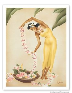 Hawaiian Art Prints & Posters - The Hawaiian Leimaker - Giclée Art Prints & Posters Hawaiian Art, Vintage Hawaiian, Hawaiian Phrases, Vintage Travel Posters, Vintage Postcards, Hula Girl, Poster Prints, Art Prints, Art Store