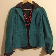 "HP m Loft ✨ Teal Cord Jacket Beautiful Ann Taylor Loft, size 4 teal cord blazer. 100% cotton, machine washable. Adorable floral patterns lines top interior. Blended buttons & slight puff shoulder. 22"" length. Barely used. LOFT Jackets & Coats Blazers"