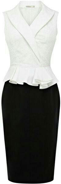 Karen Millen Geometric Broderie Dress in Black (black & white) - Lyst Mais Karen Millen, Dress Skirt, Dress Up, Peplum Dress, Mode Glamour, Business Attire, Mode Outfits, Look Chic, Work Attire