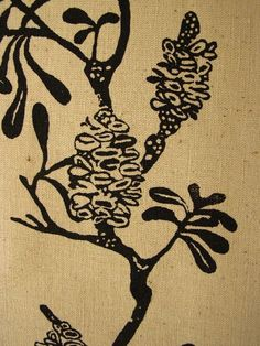 Organic dark shapes contrasing with light wood texture Botanical Art, Botanical Illustration, Illustration Art, Botanical Drawings, Illustrations, Stencil Painting, Fabric Painting, Stenciling, Textures Patterns