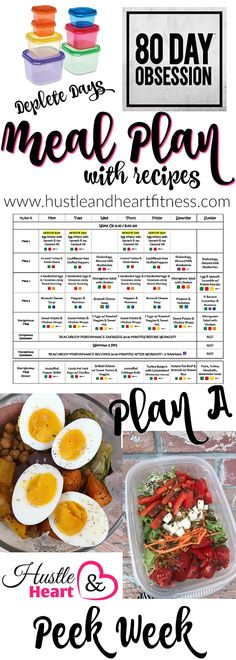 80 Day Obsession Peek Week Meal Plan with Deplete Days | Fix Friendly Recipes And Tips | United States | Hustle & Heart Fitness