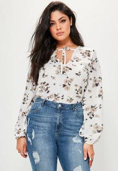 Plus Size White Floral Printed Tie Bodysuit