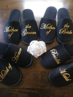 Personalized Bridesmaid Slippers - Bridesmaid Gifts - Bridal Shower Gift - Bride Slippers - Bachelorette - Ships from the USA Perfect Wedding, Dream Wedding, Wedding Day, Foto Wedding, Bridal Shower Gifts, Bridal Gifts, Bridal Party Robes, Wedding Gifts, Bridesmaid Proposal