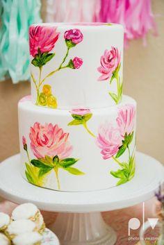 Hand Painted Flower Cake Adorable Little Girls Tea Party Scarlets  cakepins.com
