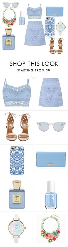 """summer pale set"" by evagelialove on Polyvore featuring Lipsy, Aquazzura, Sun Buddies, Casetify, Henri Bendel, Bella Bellissima and Essie"