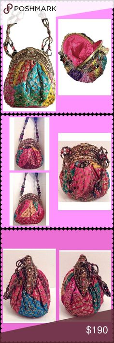 "Vintage Addiction Saris Beaded Handle Clutch Vintage Addiction Saris multi color beaded handle clutch.  New with tags.  Single beaded shoulder strap. Framed top. Exterior features mixed media embellishments. Interior features wall pocket.   This handbag is handcrafted with the highest quality leather and adorned with upcycled colorful antique tribal dresses from Afghanistan and Pakistan.  Some dresses have been estimated to be over 100 years old.  7.5""H x 5.5""W; 5.5"" strap drop.  No trades…"