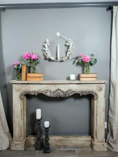 A close up of the mantle in the master bedroom in the newly renovated Jones home, as seen on Fixer Upper. (after)