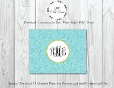 Summer Breeze - DIY Printable Monogram Note Card Template - Add Text, Print, Trim, Fold, Done! Unlimited Personal Prints. KAT.0278 by DIYNotecards on Etsy