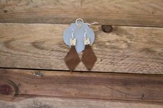 Leather Earrings Gold and Bronze by laborofleather on Etsy