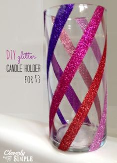 Cleverly Simple » Glitter Candle Holder : DIY Christmas Gift For Only $3